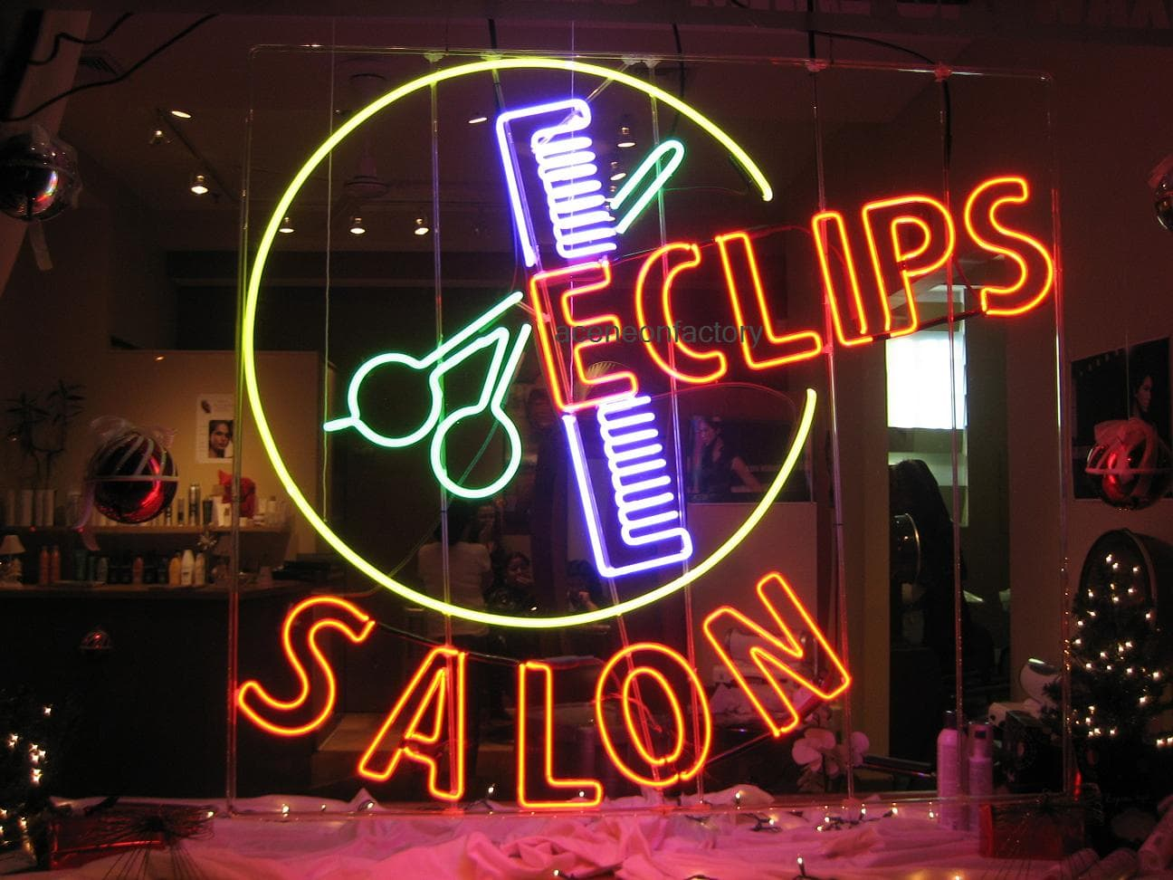 window with neon sign